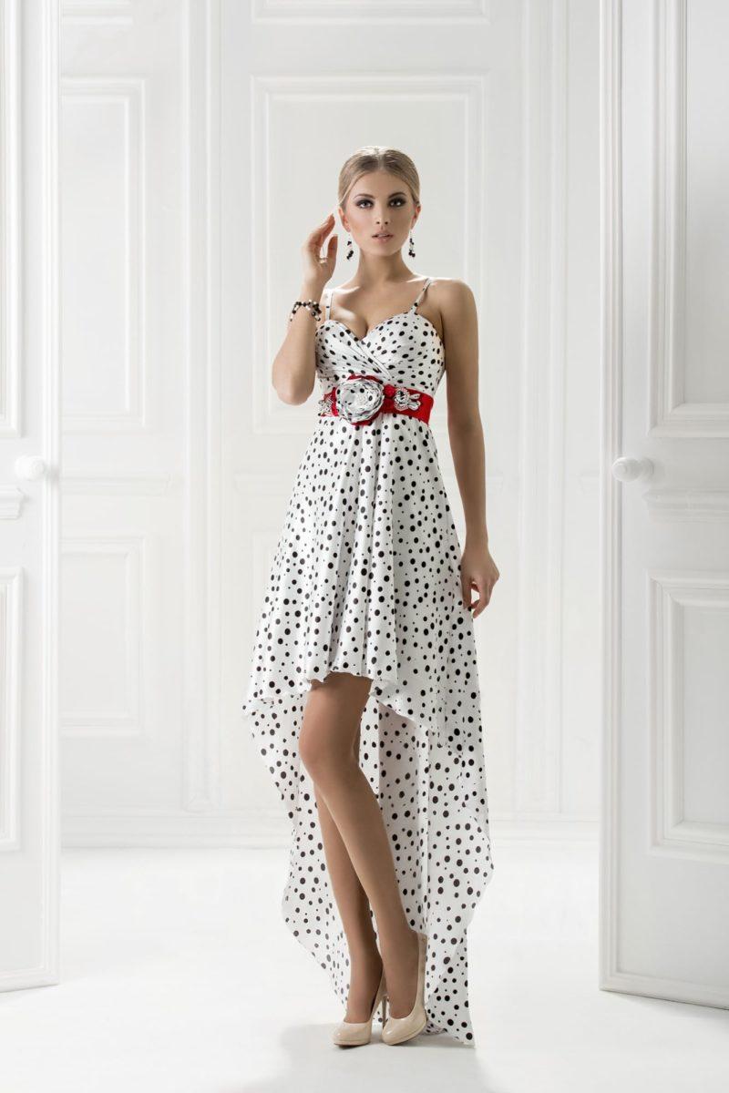 Кокетливое вечернее платье в горошек с укороченным подолом.