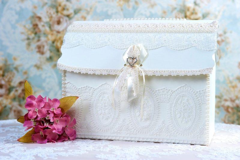 Кружевная свадебная корзинка с белым атласным бантом.