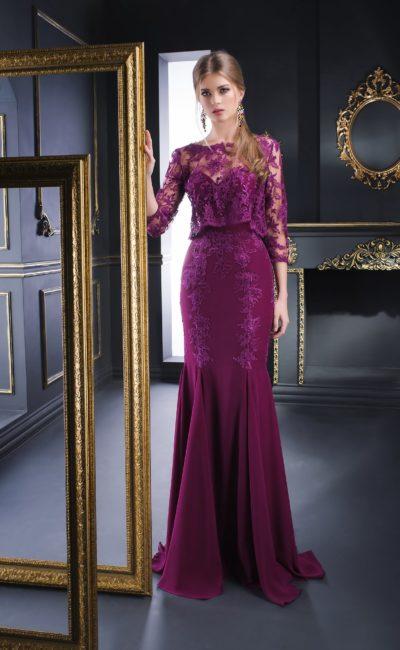 Фиолетовое вечернее платье «рыбка» с кружевным топом с длинным рукавом.