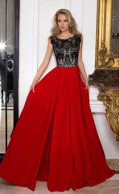 Платье красное с черным