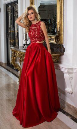 Красное платье с топом