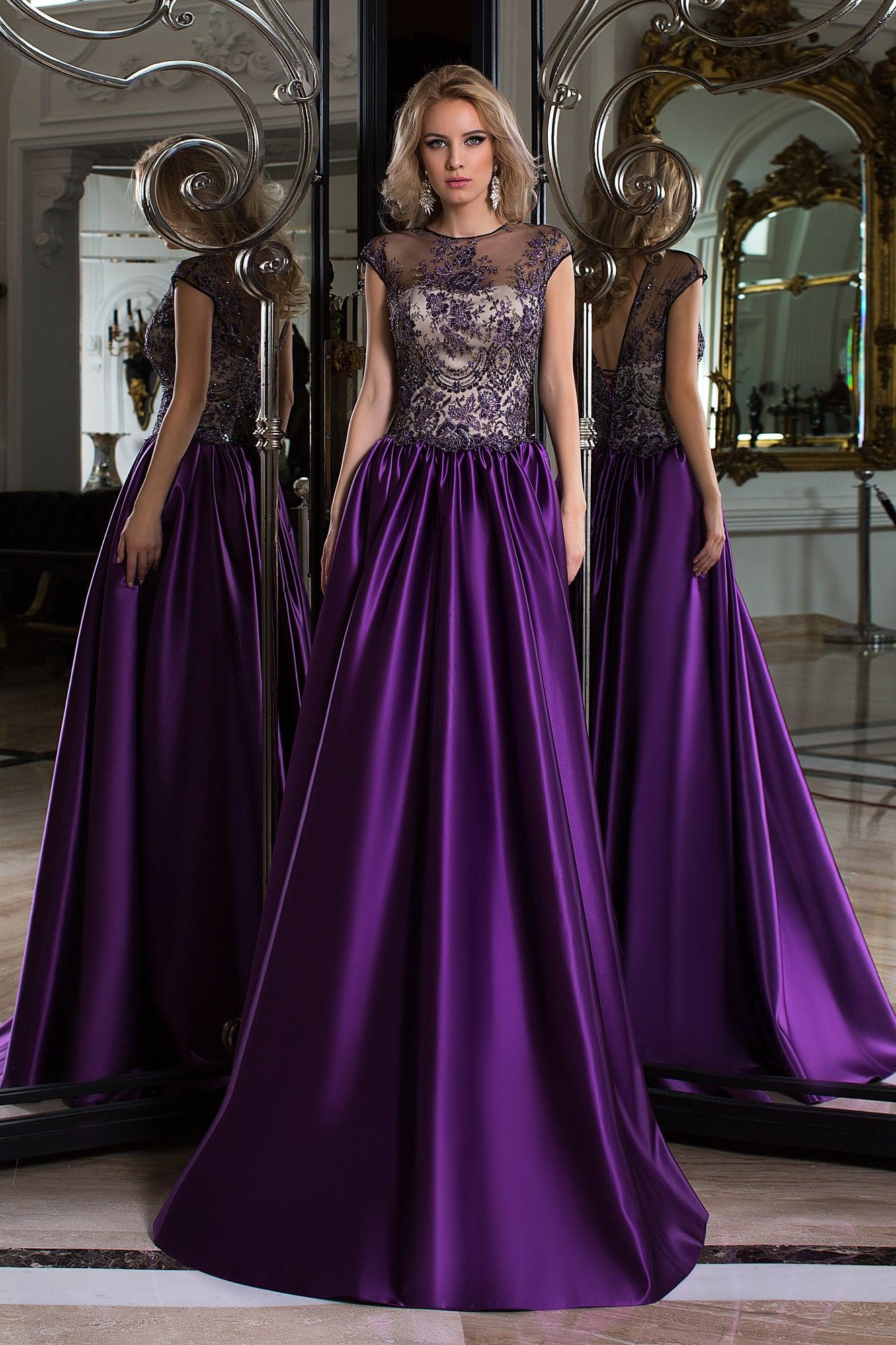 84bbfa96499 Фиолетовое вечернее платье с пышной юбкой и полупрозрачным закрытым верхом.