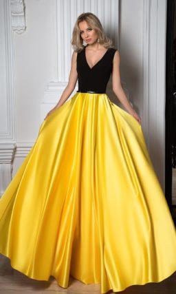 Платье черное с желтым