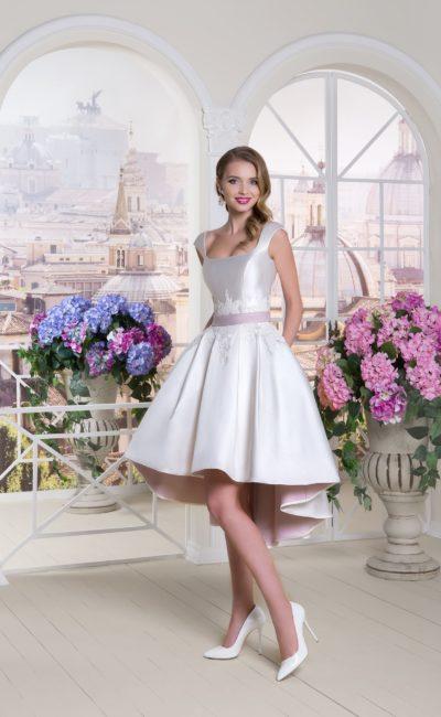 Короткое атласное свадебное платье
