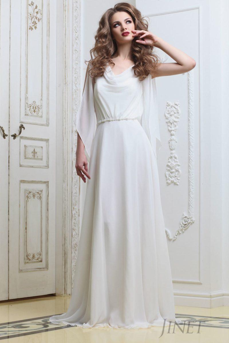 Оригинальное прямое свадебное платье в греческом стиле с открытым лифом без рукава.