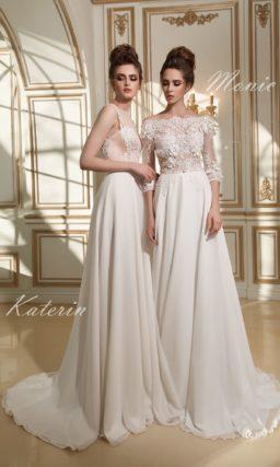 Прямое свадебное платье с элегантным кружевным верхом и шифоновым шлейфом.