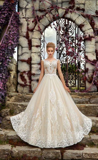 Великолепное свадебное платье «принцесса» с полупрозрачным корсетом с кружевом.
