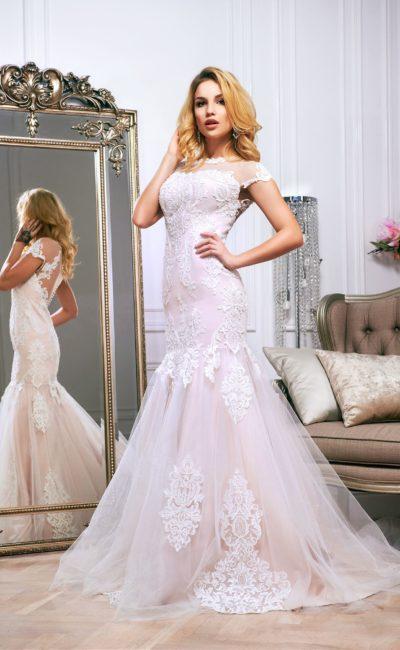 Розовое свадебное платье «русалка»