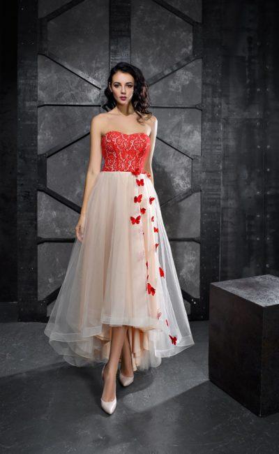 Укороченное спереди платье