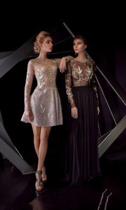Вечернее платье с полупрозрачным верхом и длинным рукавом.
