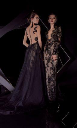 Черное вечернее платье на бежевой подкладке, с рукавом и верхней юбкой.