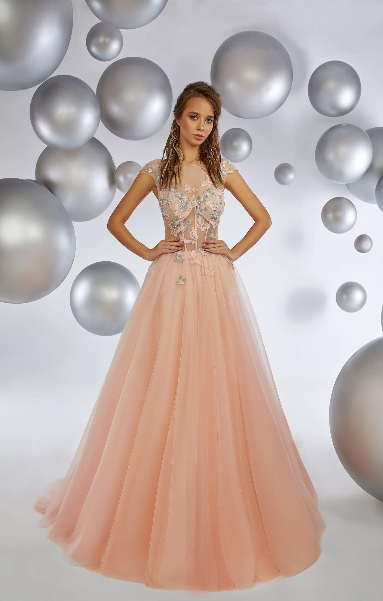 c83decf400aa8b2 Персиковое вечернее платье с воздушной юбкой и полупрозрачным верхом.