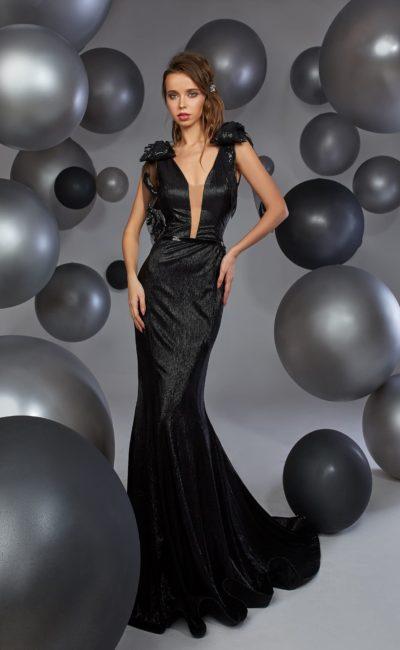 Черное модное платье
