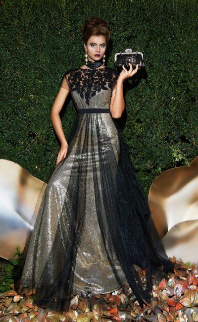 Сияющее вечернее платье с кружевным декором лифа и стильным поясом.
