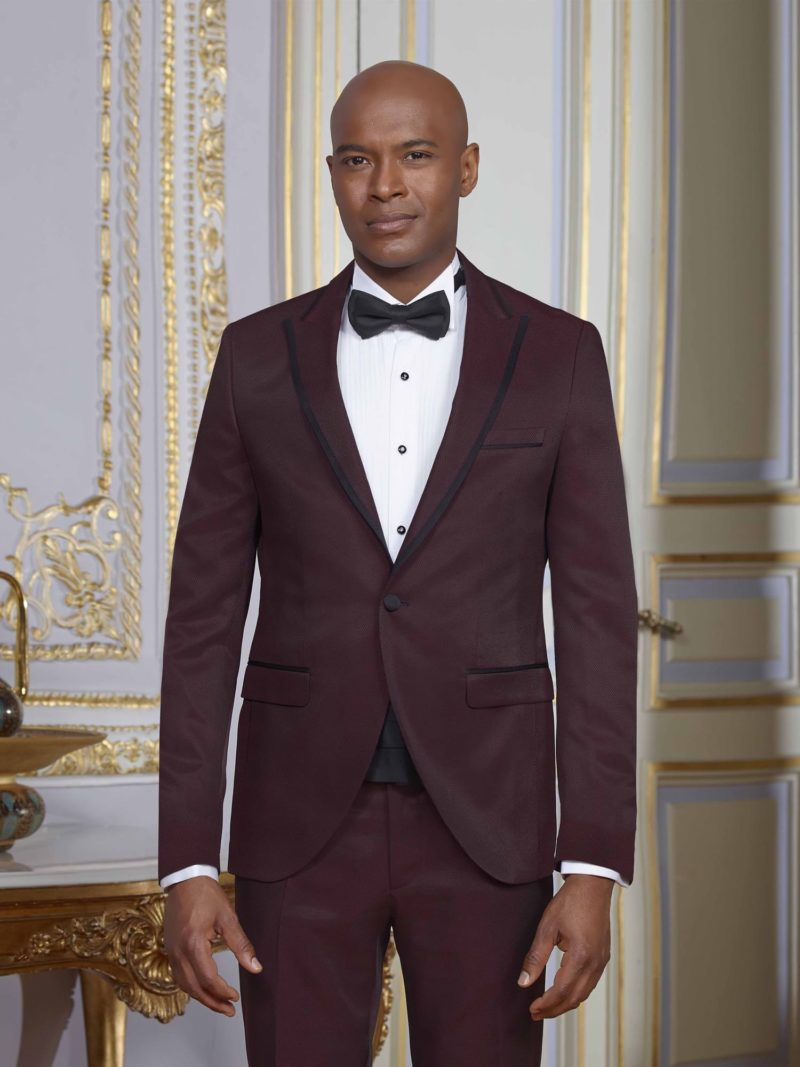 Бордовый мужской свадебный костюм