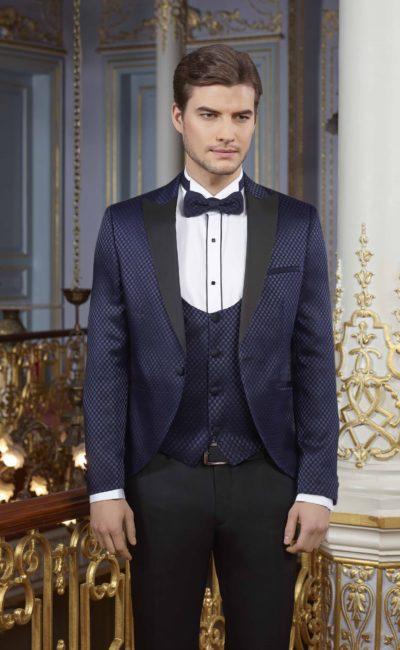 Свадебный синий мужской костюм-тройка