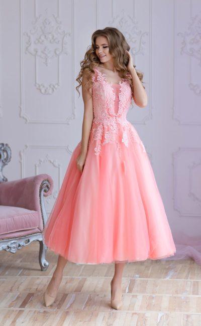Платье на выпускной розового цвета