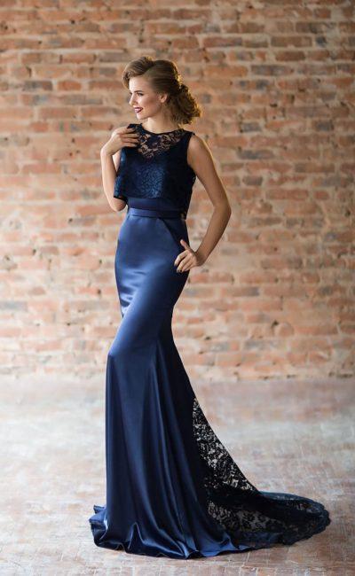 Синее вечернее платье «русалка»
