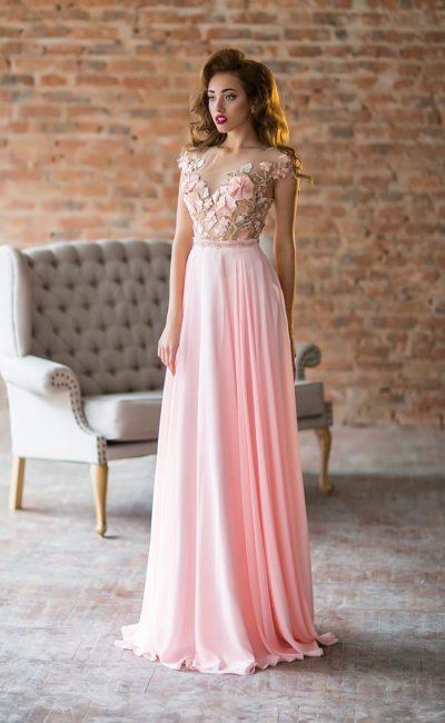 Розовое греческое платье