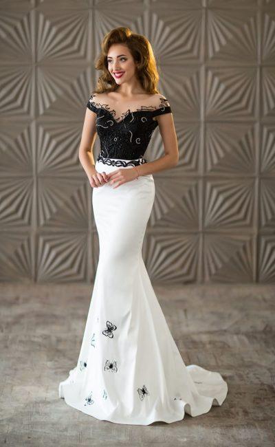 Черно-белое платье «русалка»