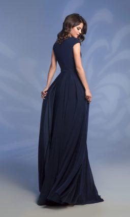 Темно-синее коктейльное платье