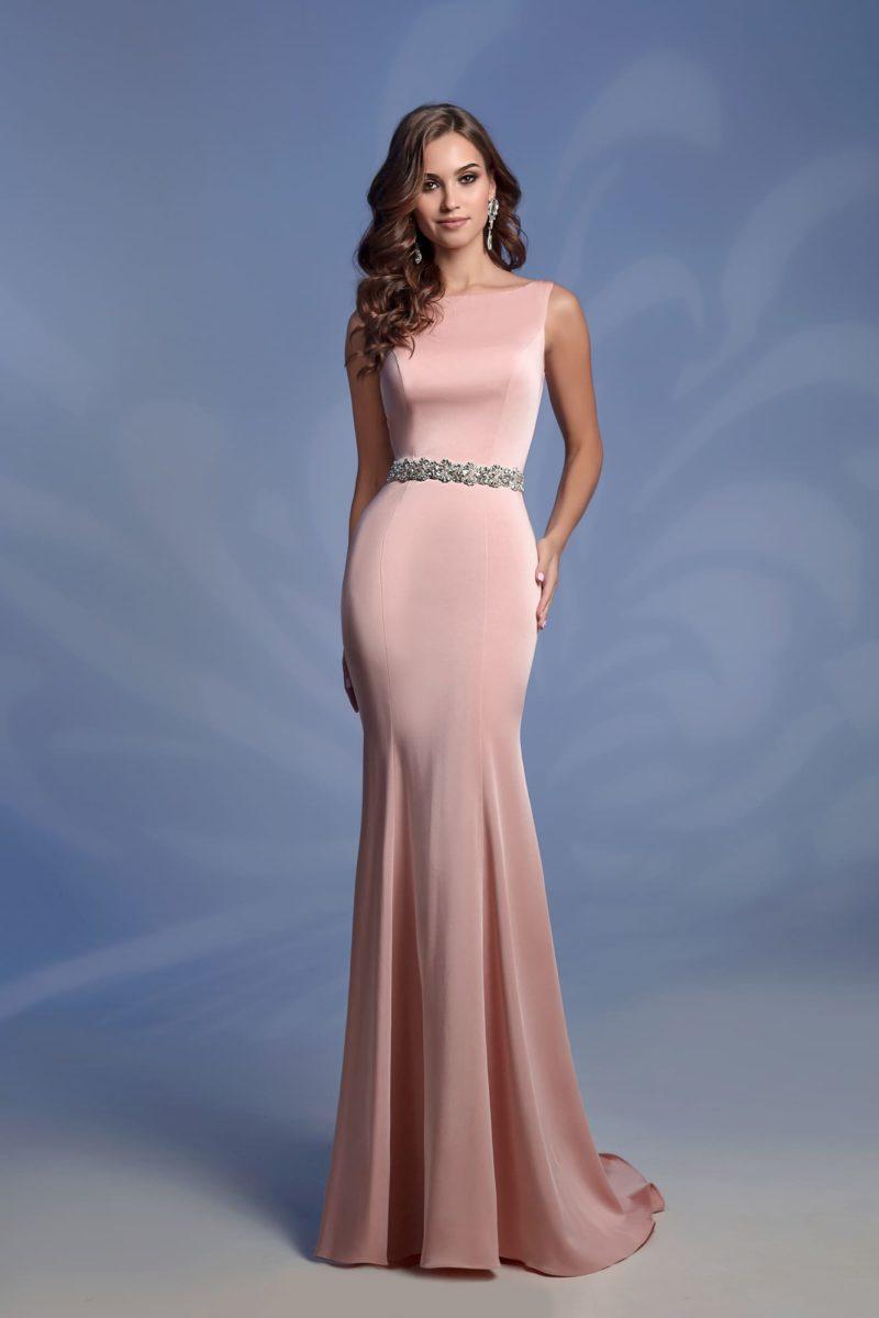 Розовое вечернее платье «русалка» с вырезом «бато».