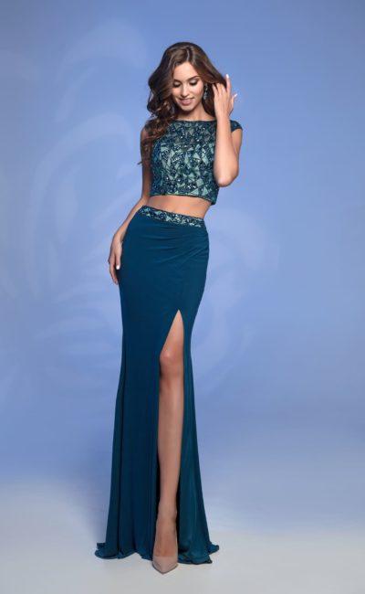 Сине-зеленое раздельное платье