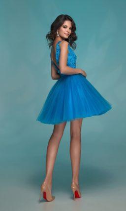 Голубое выпускное платье