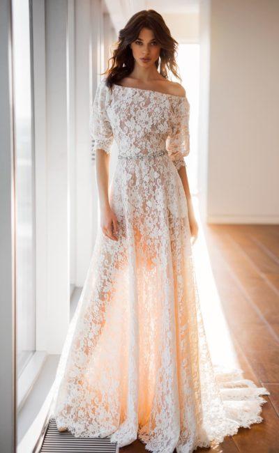 Полупрозрачное свадебное платье айвори