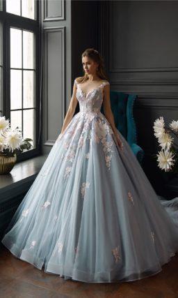 Голубое пышное свадебное платье