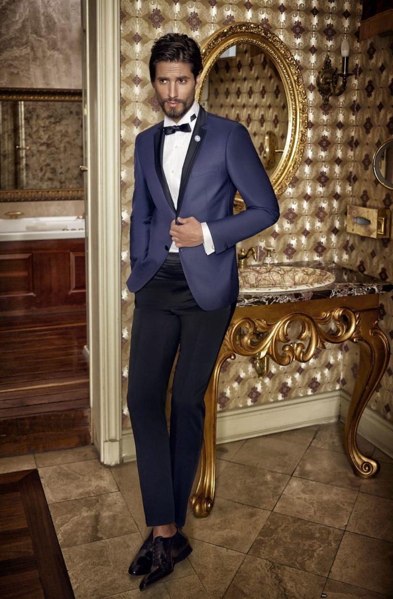 15725f290eabf ▷▷Синий мужской свадебный костюм с однобортным пиджаком. ☎ +7 495 724 26
