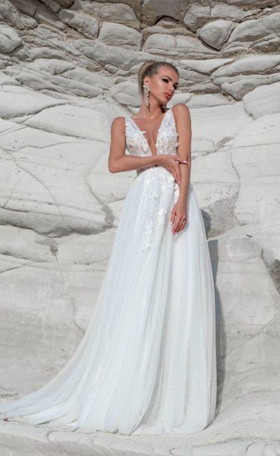Пляжное летнее свадебное платье с V-вырезом
