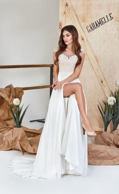 Летнее белое свадебное платье