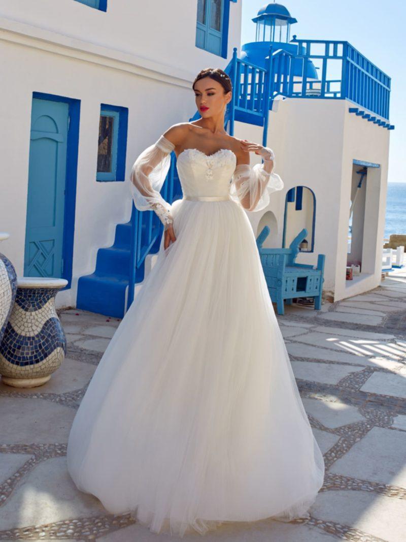 Платье-бюстье А-силуэта со съемными рукавами