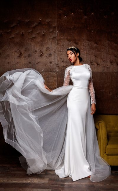 Платье силуэта «русалка» из сатина