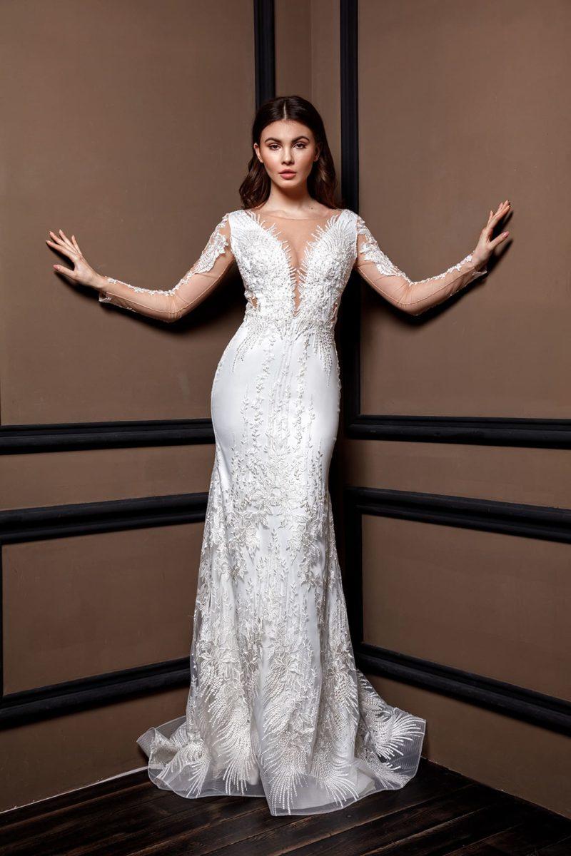 Свадебное платье «русалка» из белоснежного атласа