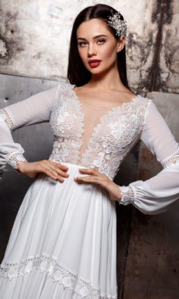 Свадебное кружевное платье в стиле бохо