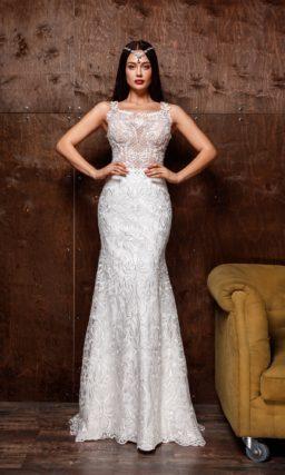 Свадебное платье «русалка» с вышивкой