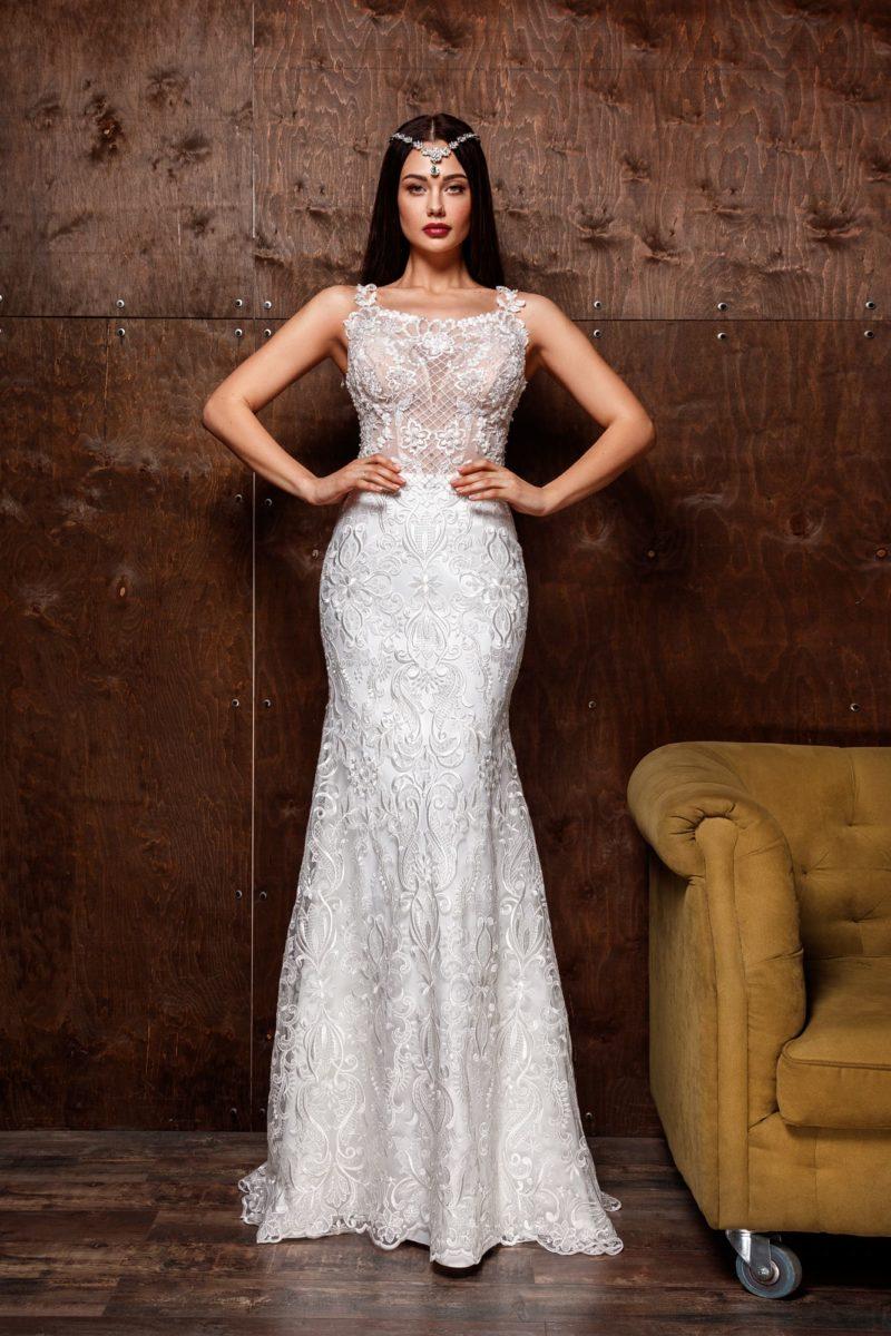 Свадебное платье силуэта «русалка» с вышивкой