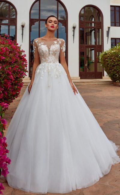 платье А-силуэта с комбинацией двух оттенков