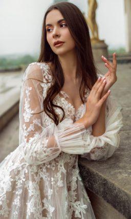 свадебное платье оттенка капучино