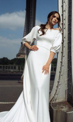 свадебное платье из гладкого крепа
