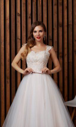 Волшебное свадебное платье пудрового оттенка