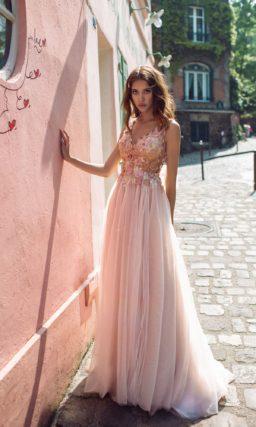 свадебное платье карамельного оттенка