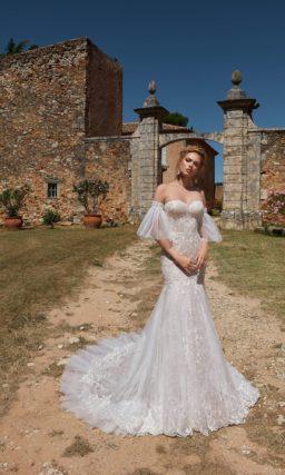 свадебное платье в серебристо-жемчужном цвете