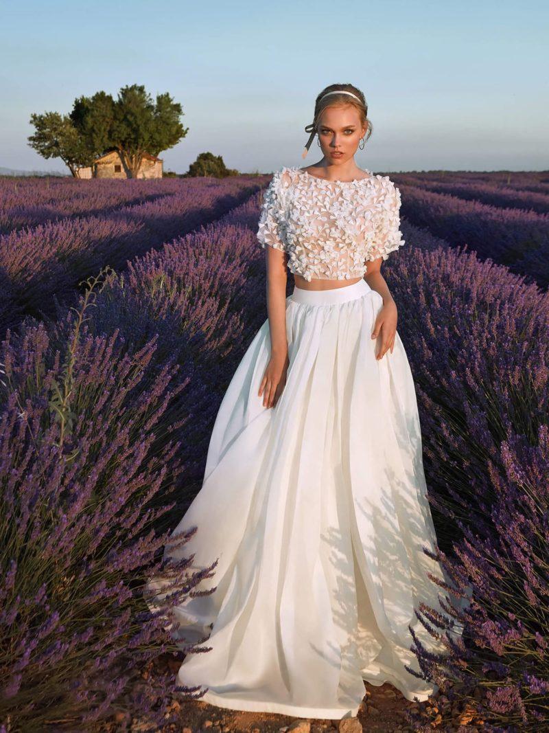 Стильное свадебное платье кроп-топ