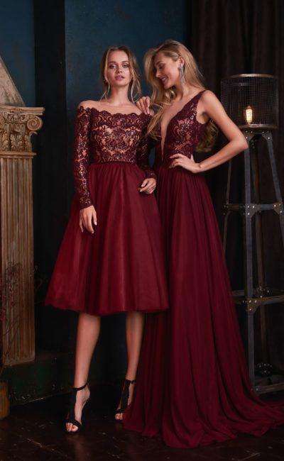 Вечернее платье-миди в благородном винном оттенке