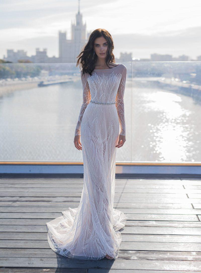 Изящное свадебное платье с силуэтом «русалка»