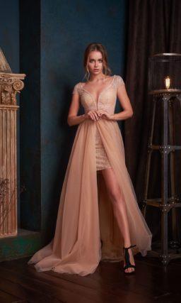 вечернее платье с верхней юбкой шлейфом