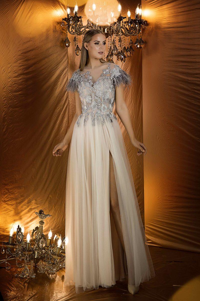 вечернее платье с жемчужно-серым верхом